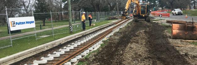 Ballarat tram works on track